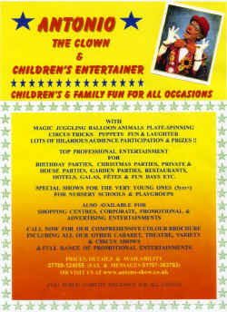 Jon Anton Presents Antonio The Clown Children's Entertainer. Children's and Family Fun For All Occasions.