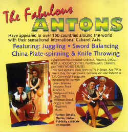 The Fabulous Antons - Sensational International Cabaret Acts. Juggling, Sword Balancing, China Plate-Spinning, Knife Throwing.
